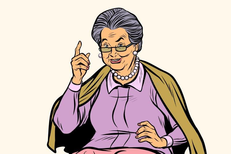 指向手指的年长妇女,在白色背景图片