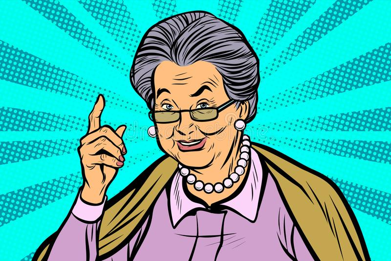 指向手指的年长妇女图片