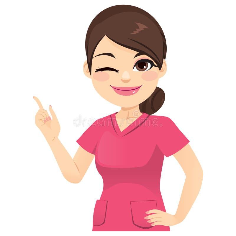 指向手指的护士妇女 库存例证