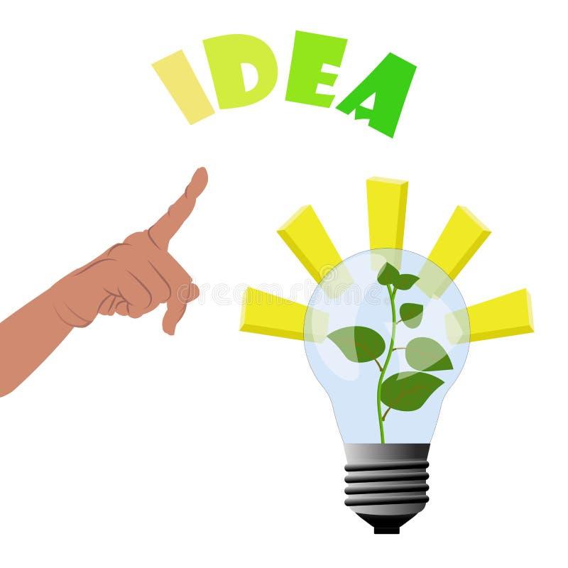 指向手种植增长在灯里面-光和启发的企业想法挣金钱和生长冠上 向量例证