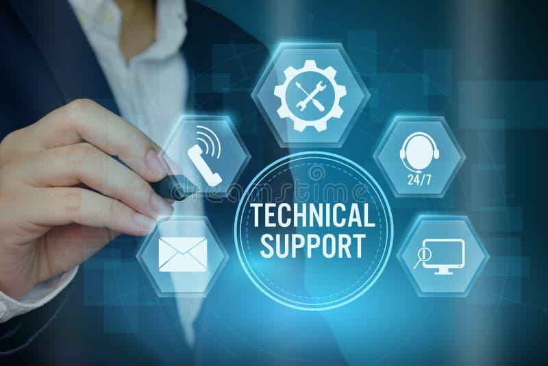 指向技术支持顾客概念的象商人, 库存图片