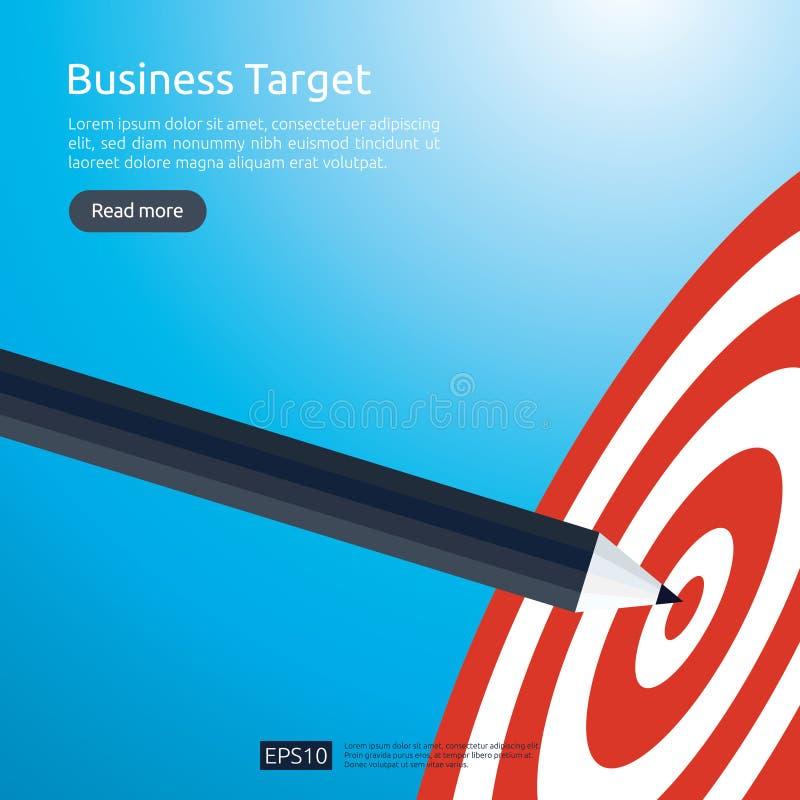 指向掷镖的圆靶中心目标的铅笔 战略成就和成功平的设计 射箭箭目标和箭头 事务 库存例证