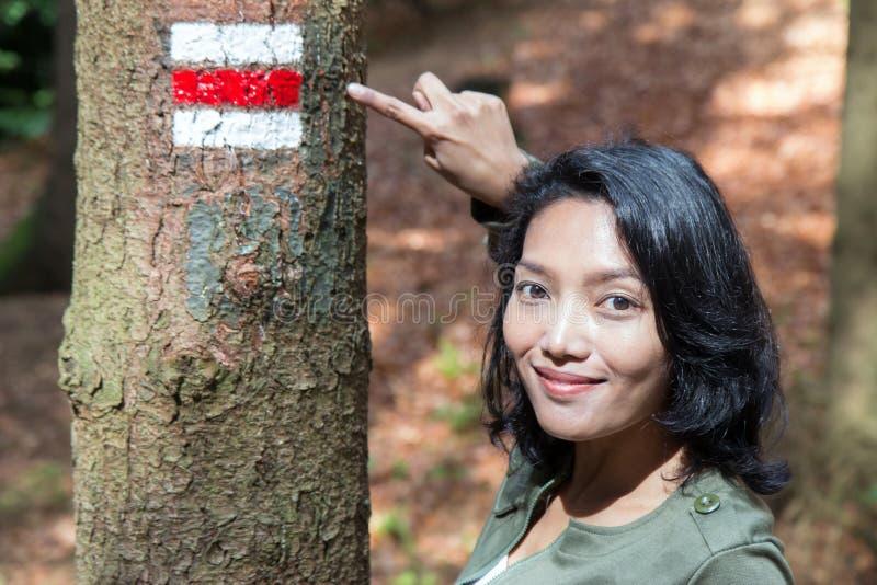 指向旅游标志的妇女 图库摄影