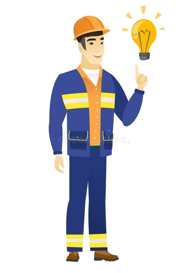 指向明亮的想法电灯泡的建造者 皇族释放例证