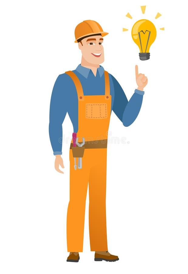 指向明亮的想法电灯泡的建造者 向量例证