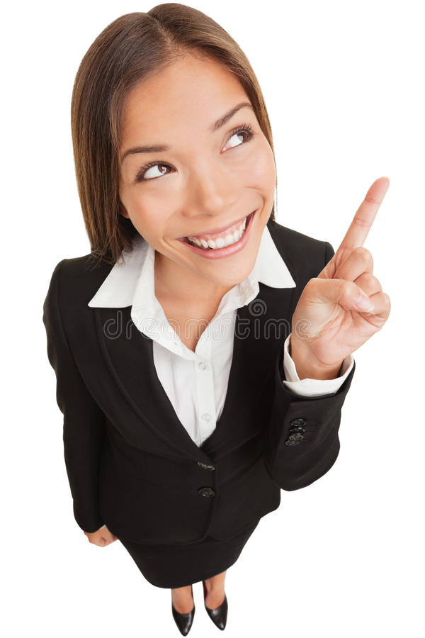 指向显示和查找的女商人 库存图片