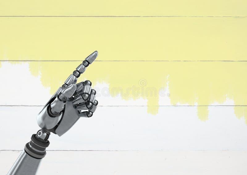 指向有明亮的木背景的机器人机器人手 免版税库存照片