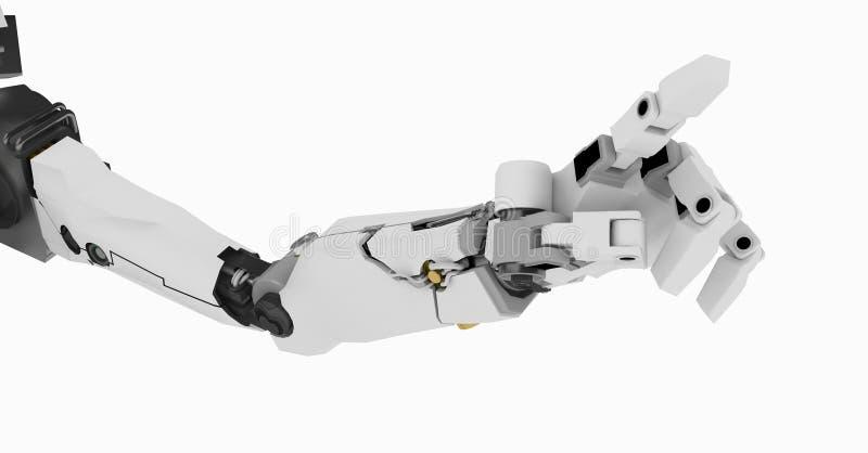 指向机器人的胳膊亭亭玉立 皇族释放例证