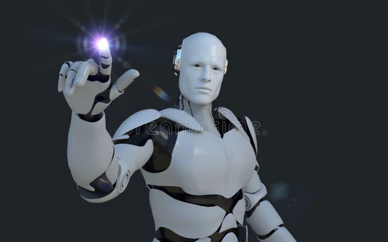 指向某事在它前面的白色机器人技术 技术在将来,在黑背景 向量例证