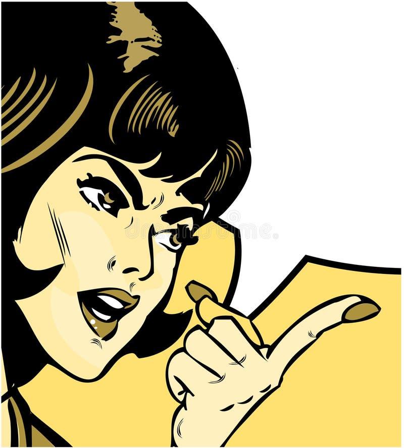 指向样式妇女的恼怒的漫画 库存例证