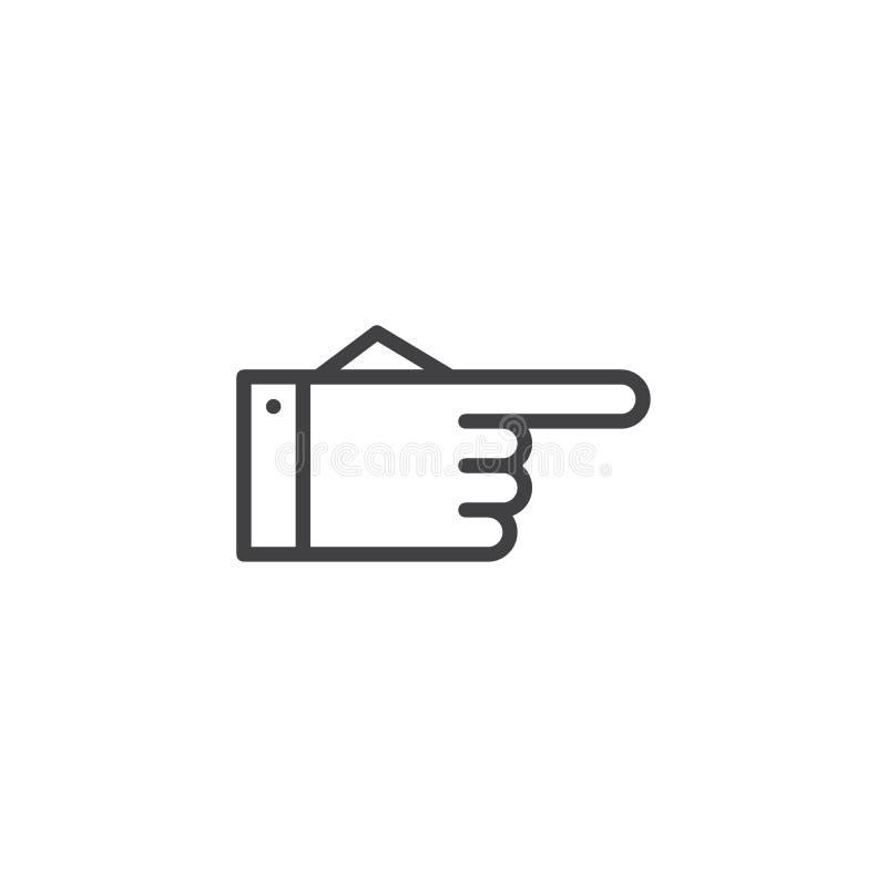 指向正确的概述象的手 向量例证