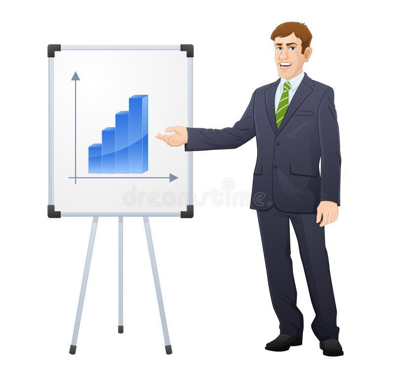 指向活动挂图的愉快的商人 向量例证