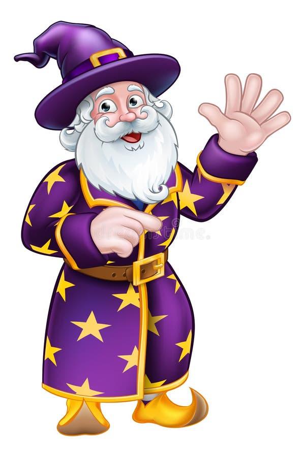 指向漫画人物的巫术师 库存例证