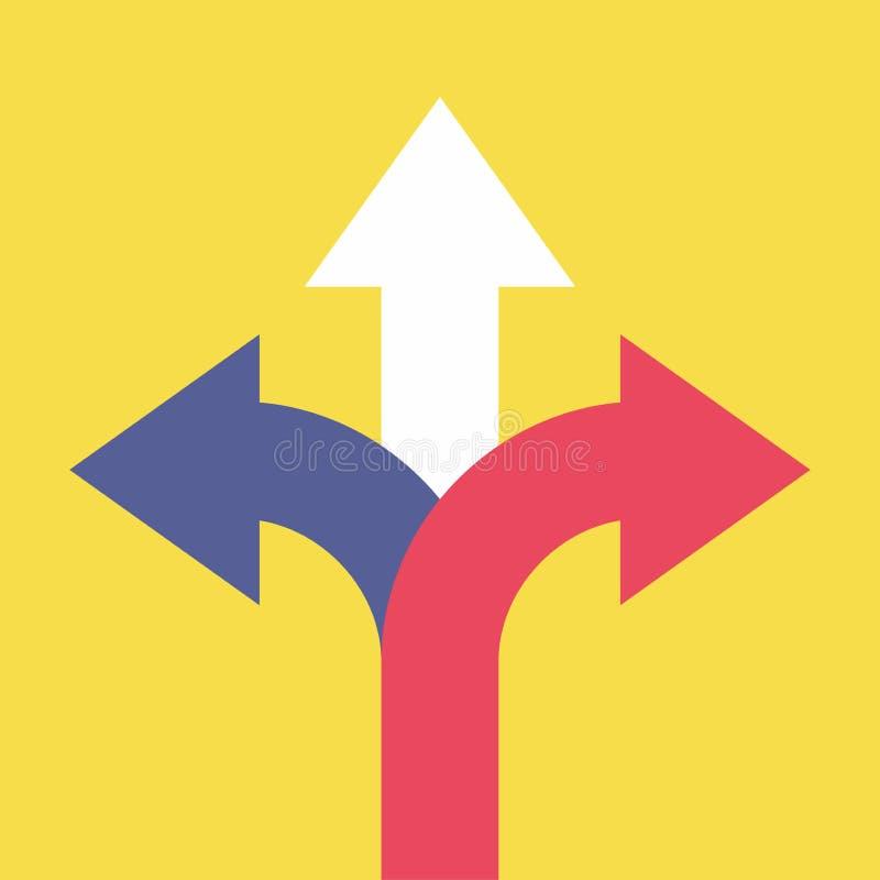 指向用不同的方向的三个箭头 选择方式概念 皇族释放例证