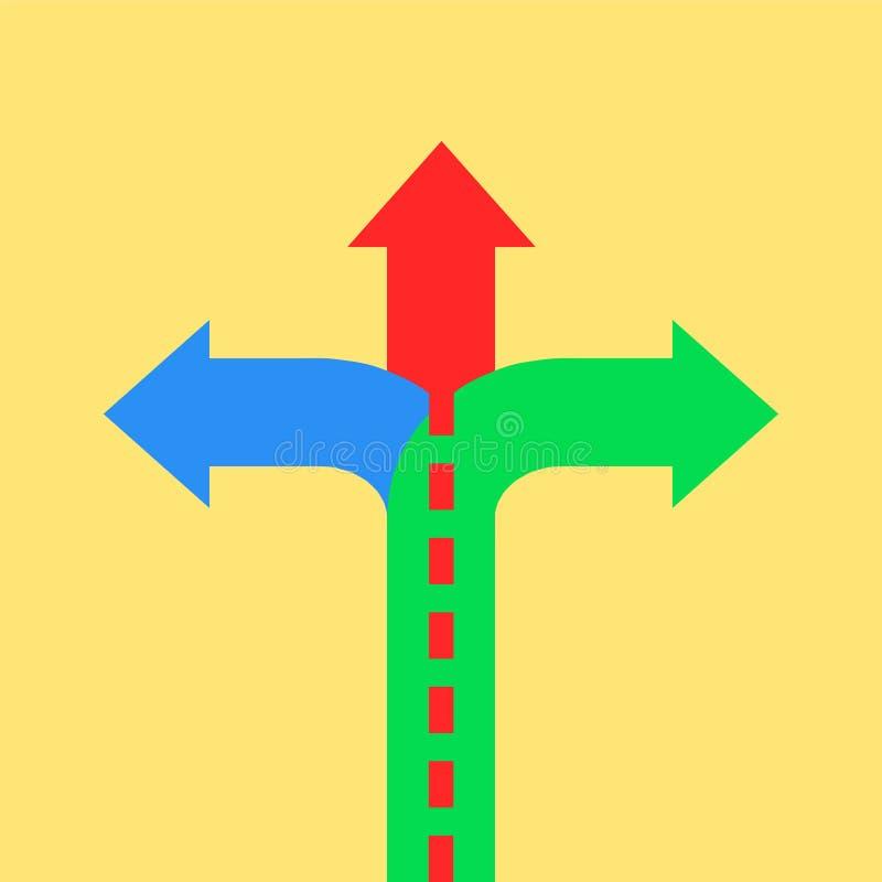 指向用不同的方向的三个箭头 选择方式co 向量例证