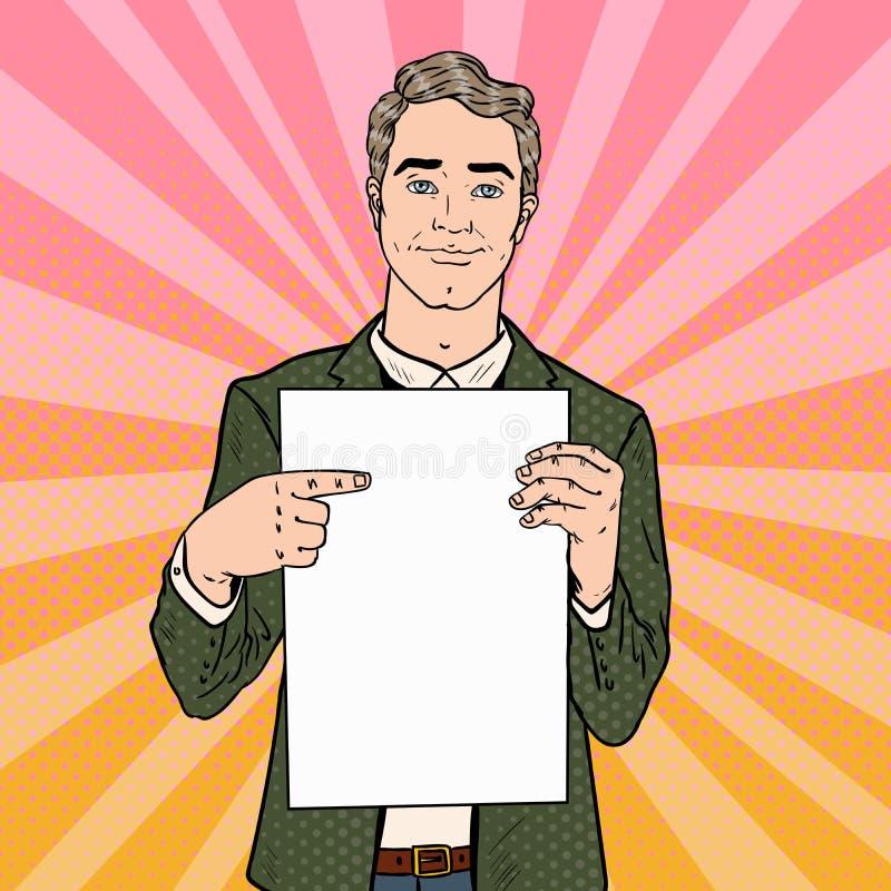 指向白纸板料的年轻商人 3d企业尺寸介绍回报形状三 流行艺术减速火箭的例证 皇族释放例证