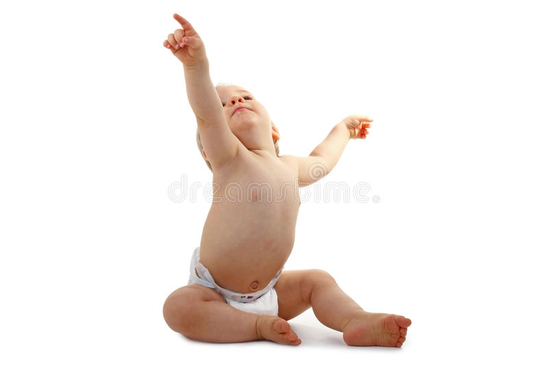 指向的婴孩  库存照片