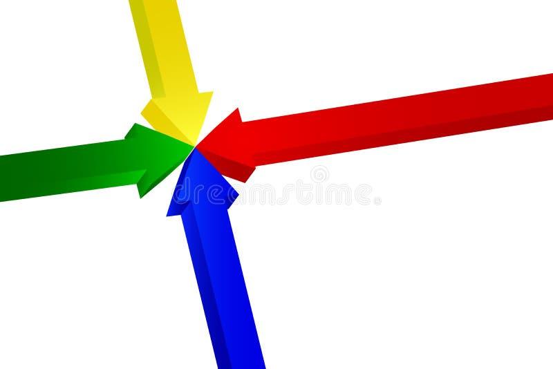 指向的箭头四 向量例证