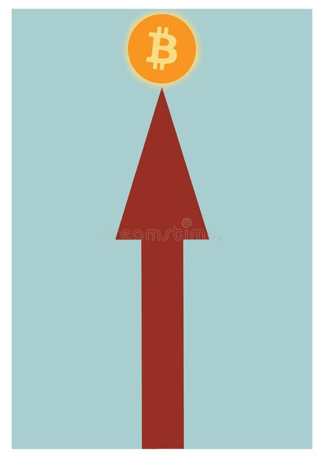 指向直接bitcoin标志的箭头 经济成功的表示法在当前公司市场上 库存照片