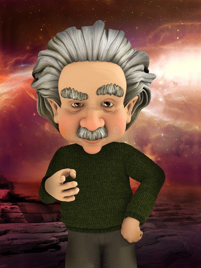 指向科学例证的爱因斯坦科学家 库存例证