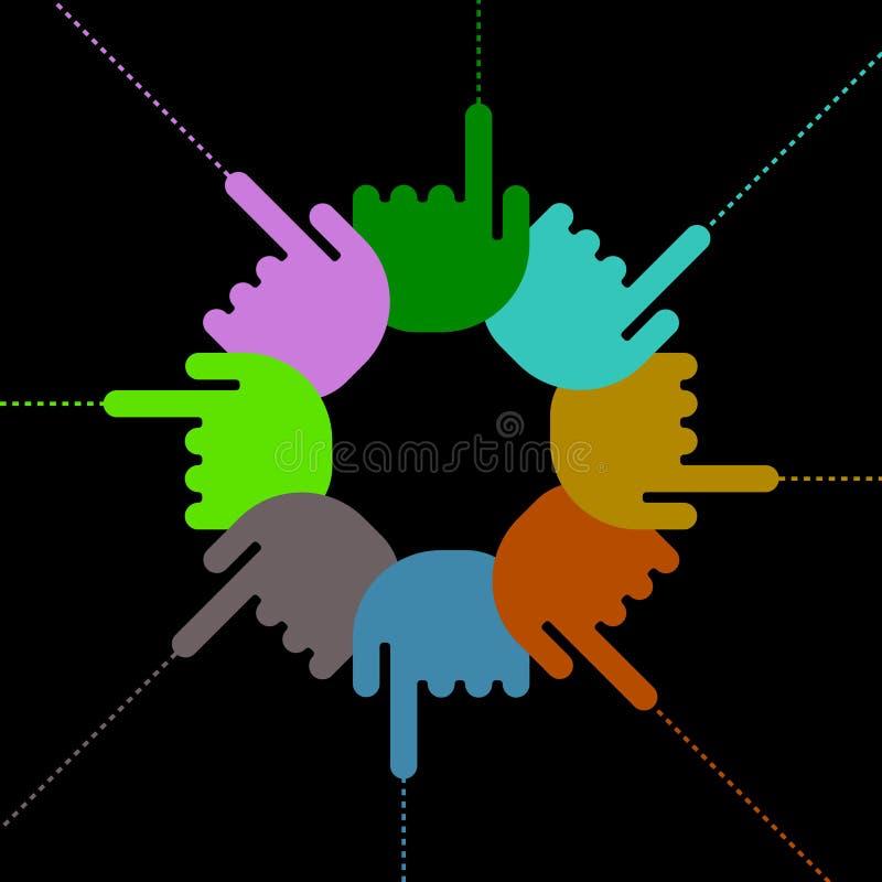 指向符号的手指现有量 向量例证