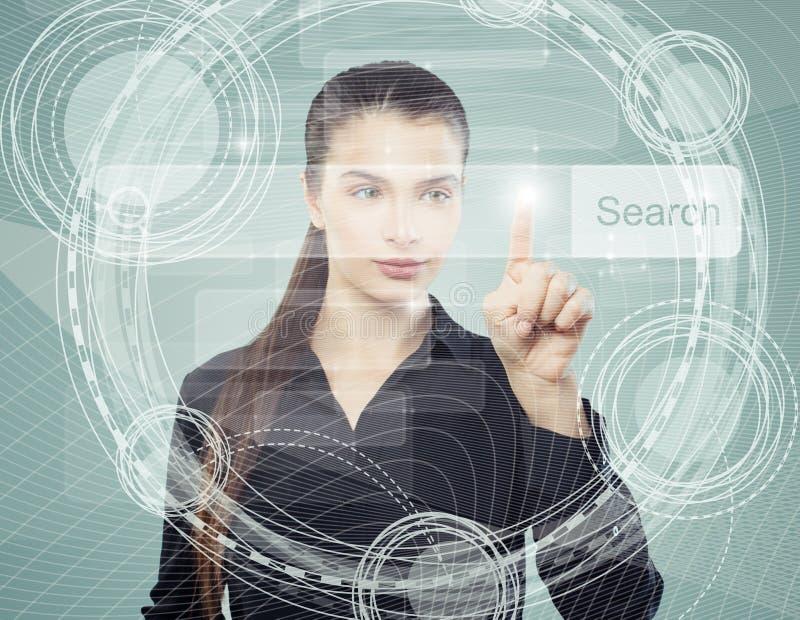 指向聪明的女商人倒空在真正浏览器的地址酒吧 Seo、互联网营销或者远距离学习概念 皇族释放例证