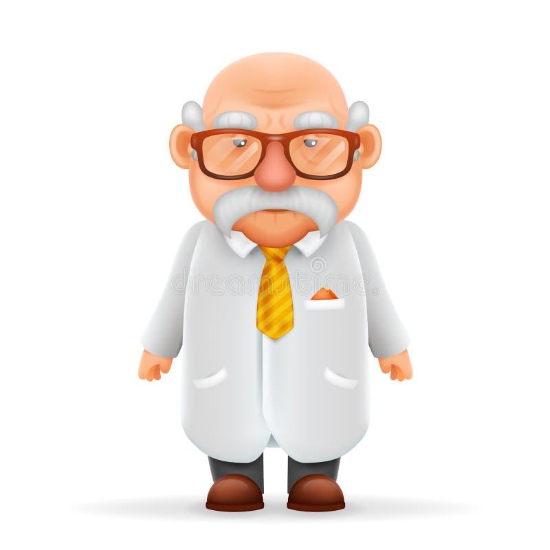 指向赞许3d现实漫画人物设计的滑稽的老明智的科学家祖父隔绝了传染媒介 皇族释放例证