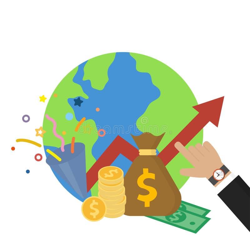 指向金钱赢利和世界经济世界储款象传染媒介例证的商人的手在平的样式 皇族释放例证