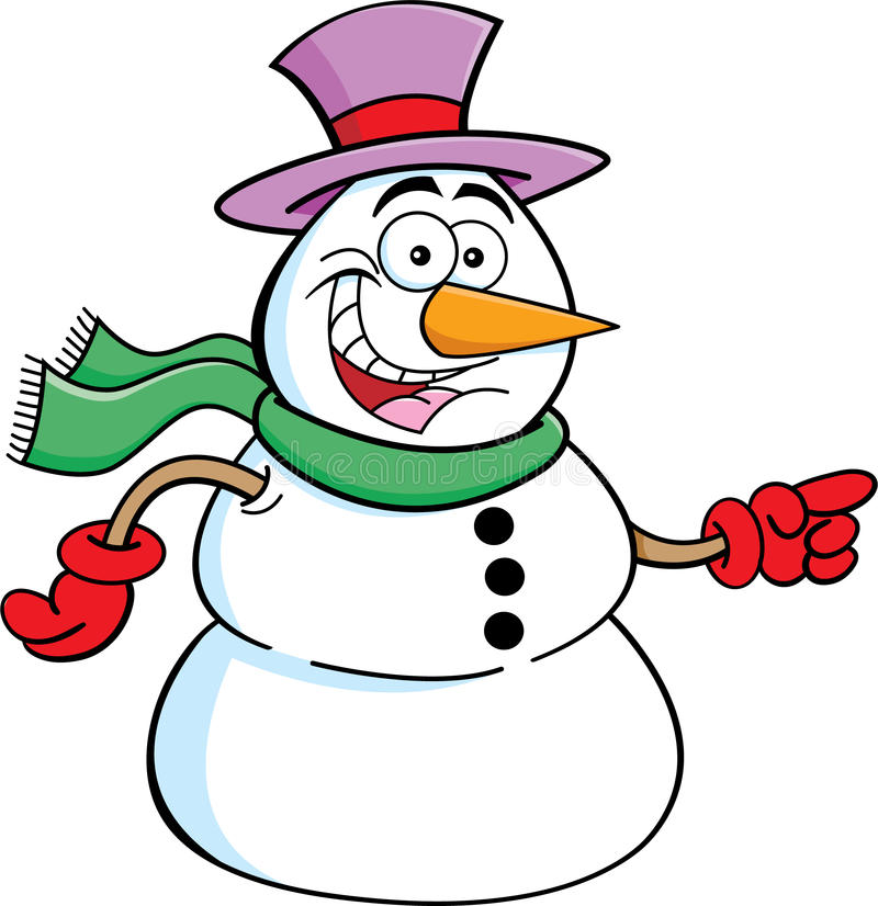 指向雪人 向量例证