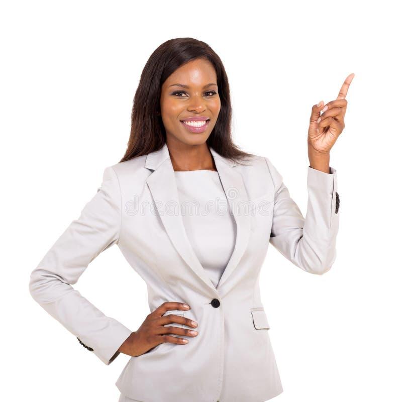指向非洲的女实业家  免版税库存照片