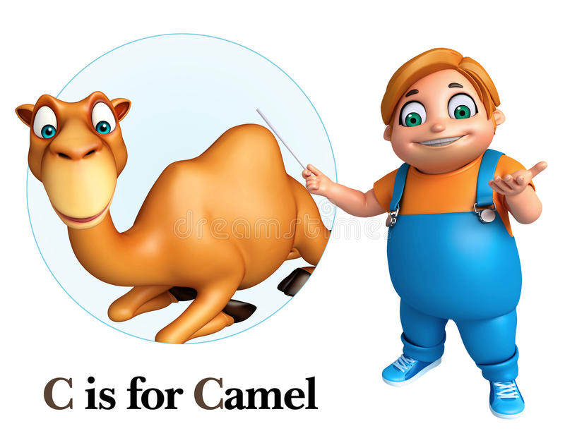 指向骆驼的孩子男孩 向量例证