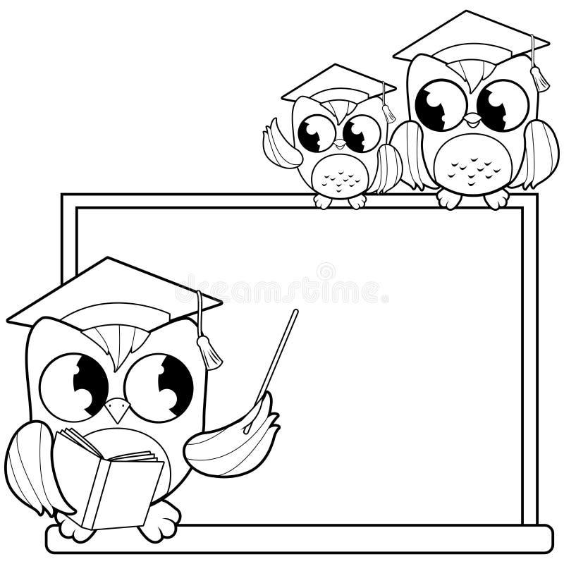 指向黑板和学生的猫头鹰老师教室 黑白彩图页 向量例证