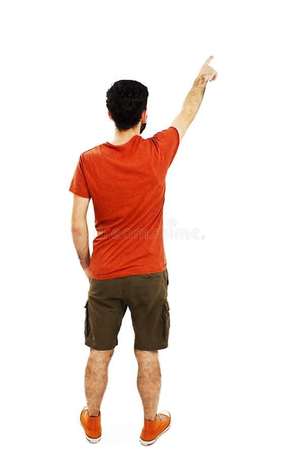 指向年轻人后面看法  背面图人汇集 库存图片
