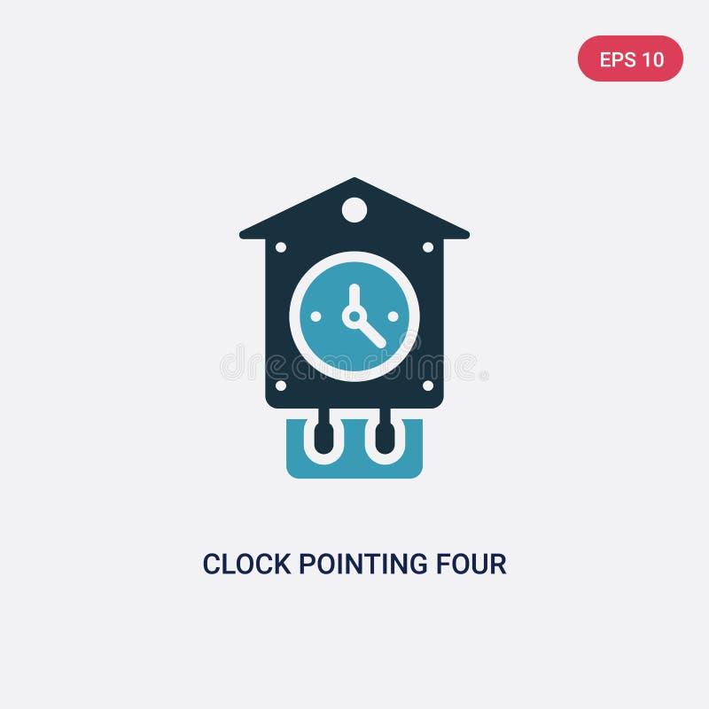 指向4点从其他概念的两种颜色的时钟传染媒介象 指向4点传染媒介标志symb的被隔绝的蓝色时钟 库存例证
