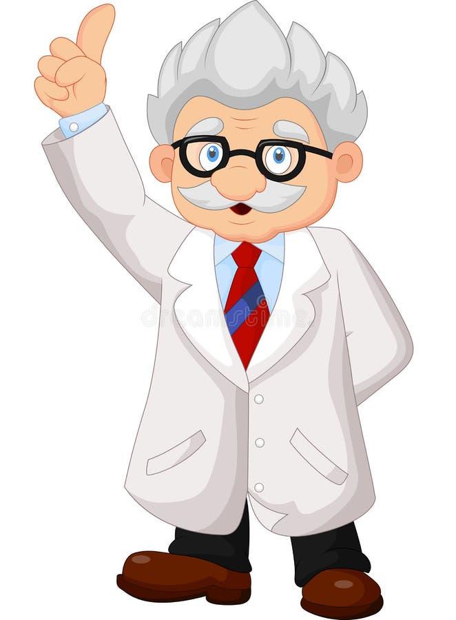 指向他的手的教授动画片 库存例证