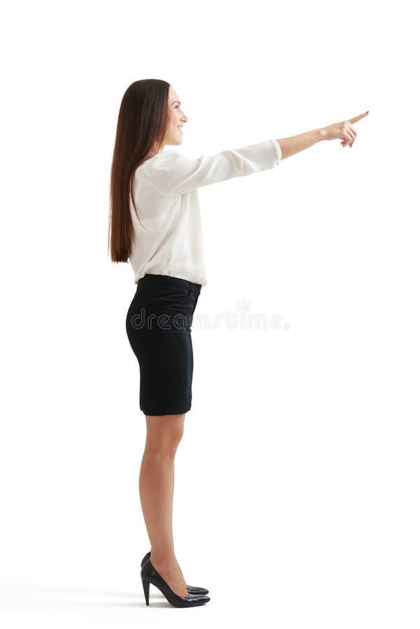 指向兴高采烈的妇女  库存照片