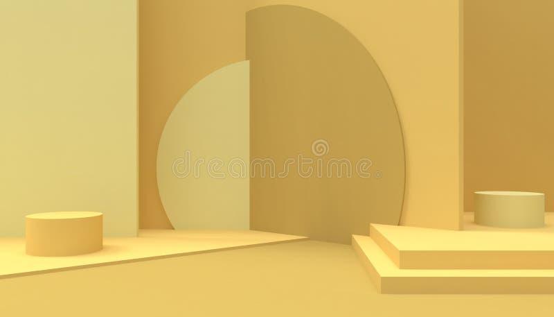 指挥台几何圈子和长方形shap构成形状最小和现代概念艺术淡色黄色墙壁 向量例证