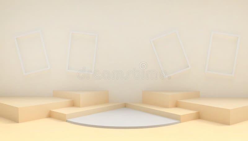指挥台圈子和长方形形状现代在抽象黄色构成最小的艺术和概念在黄色背景 向量例证