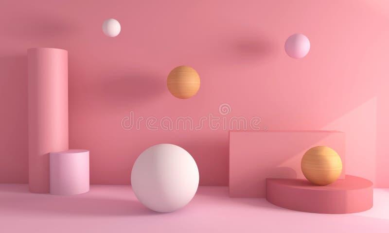 指挥台圈子和长方形现代在抽象桃红色c 向量例证
