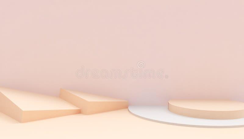 指挥台圈子和长方形现代在抽象橙色构成最小的艺术和概念在橙色背景 皇族释放例证
