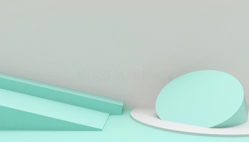 指挥台圈子和长方形现代在抽象绿色构成最小的艺术和概念在绿色背景 库存例证