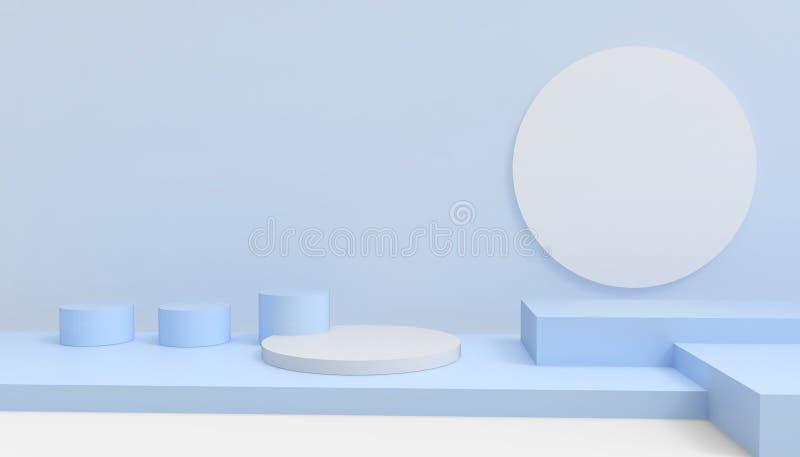 指挥台圈子和长方形现代在抽象蓝色构成最小的艺术和概念在蓝色背景 库存例证