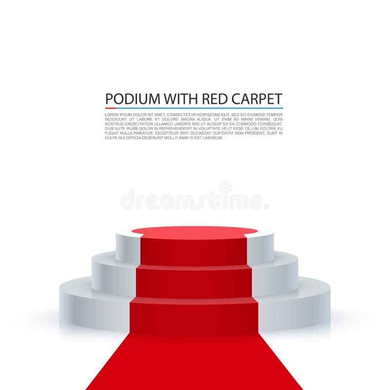 指挥台有隆重,红色台阶背景 向量例证