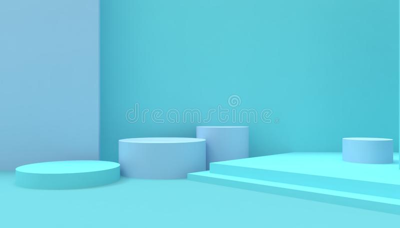 指挥台构成几何圈子塑造最小和现代在蓝色背景的概念艺术淡色蓝色墙壁 向量例证