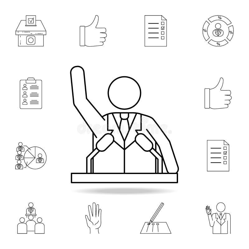 指挥台象的总统 详细的概述套竞选元素象 优质图形设计 其中一个汇集象 库存例证