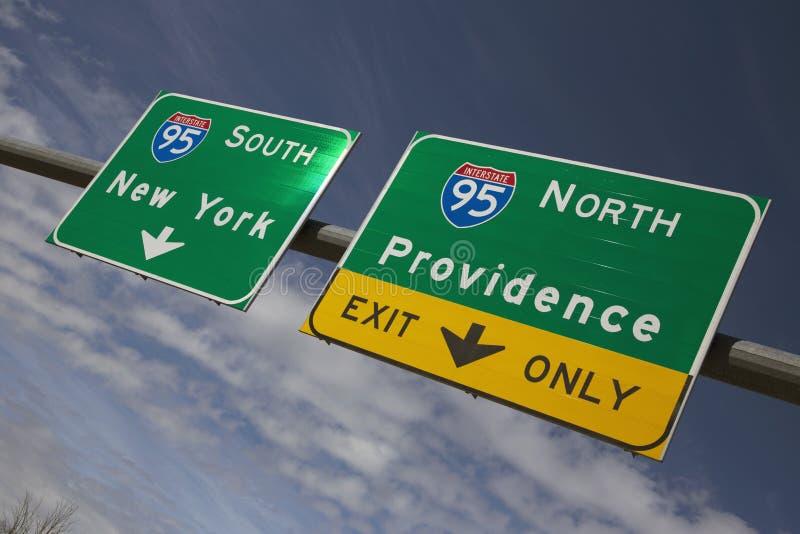 指挥对纽约和上帝罗德岛州的路线95 图库摄影