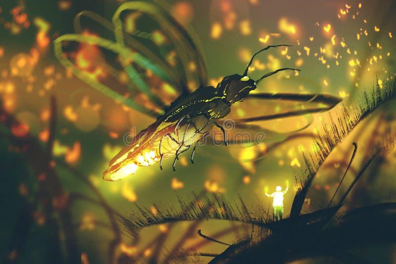指挥巨型萤火虫的小人在夜森林里 向量例证