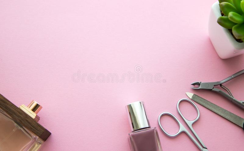 指甲油、粉色、香水瓶、修指甲剪刀、指甲锉、表皮少年和绿色花在一个白色罐在桃红色 免版税库存照片