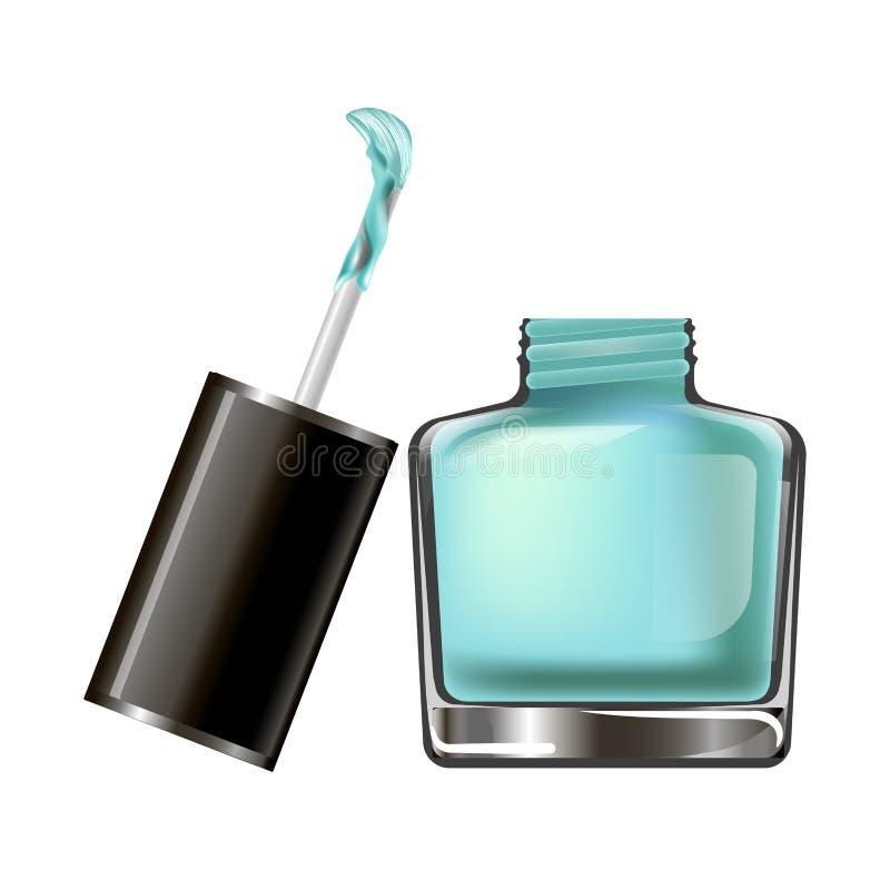 指甲油瓶或laÑ  quer或构成化妆用品导航象 向量例证