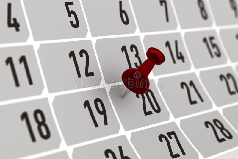指示在日历的红色别针重要天 3d例证 库存例证